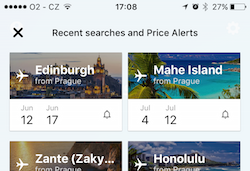 Skyscanner Recent Searches
